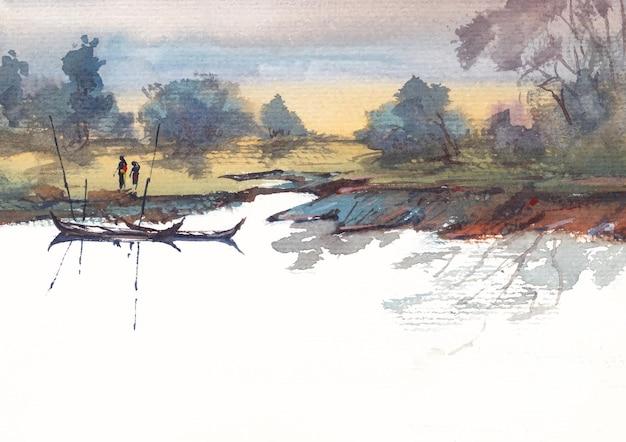 Rivieroever aquarel schilderij