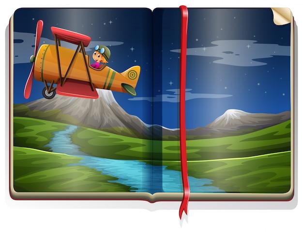 Rivierscène met vliegtuig die in het boek vliegen