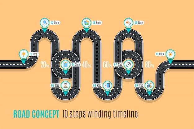 Road concept tijdlijn, infographic grafiek, vlakke stijl