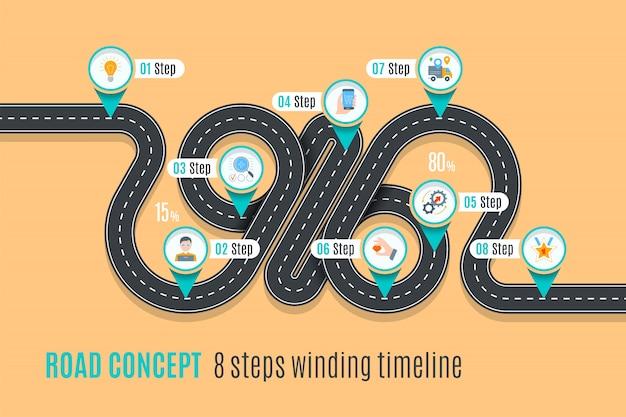 Road concept tijdlijn, infographic grafiek