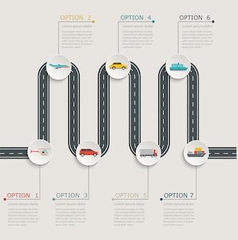 Road infographic stapsgewijze structuur met transportpictogrammen.