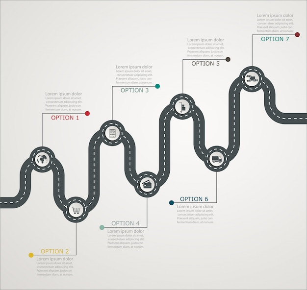 Road infographic tijdlijn stapsgewijze structuur met pictogrammen, zakelijke service, winkelen, webbezorging