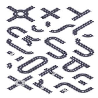 Road isometrische kit collectie van snelweg straat elementen illustratie