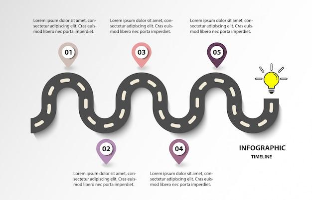 Road of business tijdlijn met 5 opties voor gloeilamp. modern ontwerp voor vector.