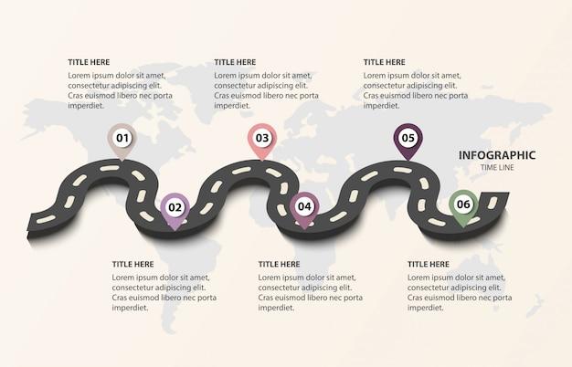 Road of business tijdlijn met 6 opties