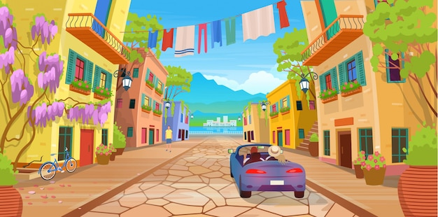 Road panorama over een straat met lantaarns, gewassen kleren, fiets, auto en veel ingemaakte bloemen. vectorillustratie van zomer straat in cartoon stijl.