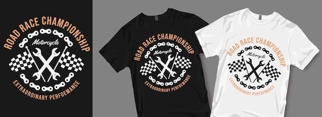 Road race kampioenschap motorfiets t-shirt ontwerp