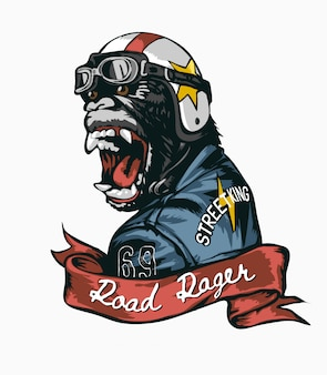 Road rager slogan met gorilla in helm en lederen jas illustratie