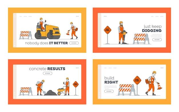 Road repair landing page template set