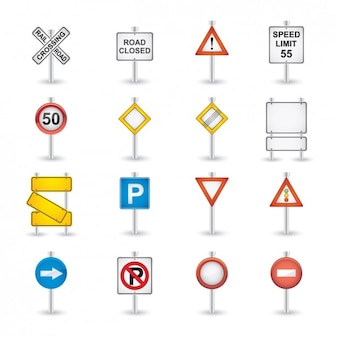 Road sings icon collection