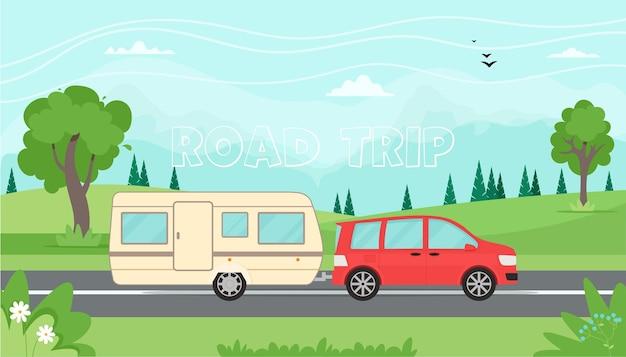 Road trip concept reizen met de auto met reisaanhangwagen illustratie in vlakke stijl