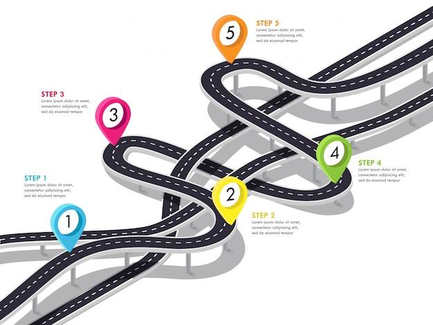 Road trip en journey route achtergrond. zakelijke en reis infographic sjabloon