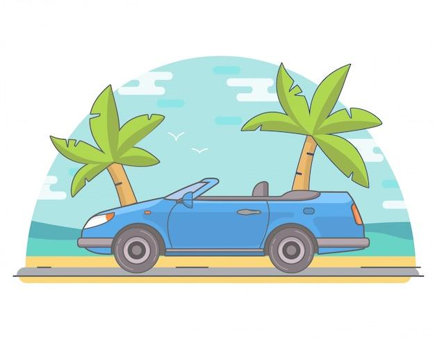 Road trip op een auto cabriolet.