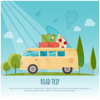 Road trip, surf camp concept banner. stijl illustratie