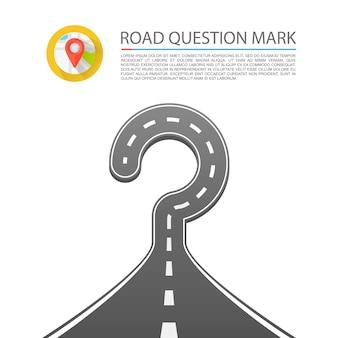 Road vraagteken teken kunst. vector illustratie