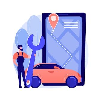 Roadside service abstract concept vector illustratie. pechverhelping, autodienstverlener, pech onderweg, mechanische reparatie, slepen van voertuigen, professionele hulp aan chauffeur abstracte metafoor.