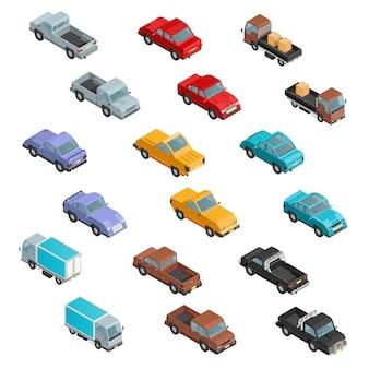 Roadtransport kleurrijke isometrische pictogrammen