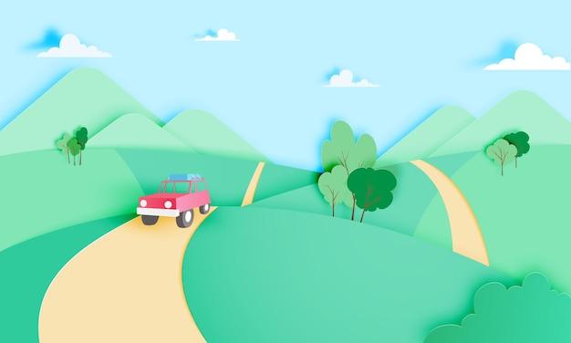 Roadtrip met auto en natuurlijke pastelkleur
