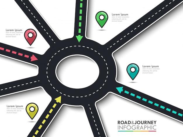 Roadtrip, reisroute en weg naar succes. bedrijf en reis infographic met pin-aanwijzer. rond kruispunt van de pijlen