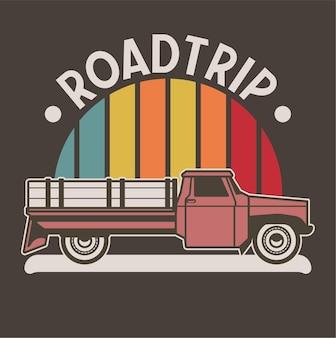 Roadtrip vintage auto illustratie