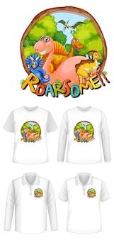 Roar een lettertype en dinosaurus stripfiguur logo met verschillende soorten shirts