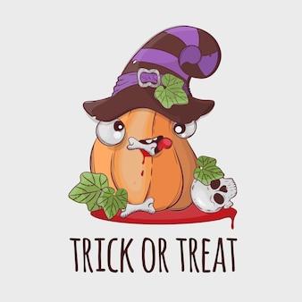 Robber pumpkin halloween grappige cartoon hand getrokken illustratie