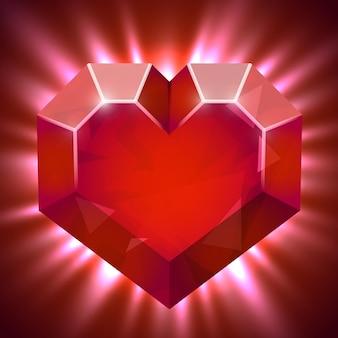 Robijnrode edelsteen in de vorm van een hart met lichtstralen.