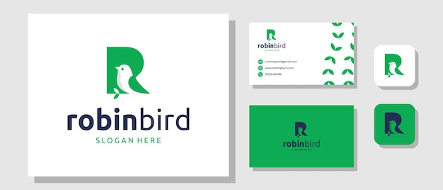Robin bird-logo-ontwerp met eerste letter r-merkidentiteitslay-out