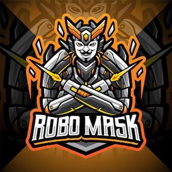 Robo masker esport mascotte logo ontwerp