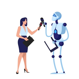 Robot als verslaggever. idee van kunstmatige intelligentie. vrouwelijke journalist met microfoon. illustratie.