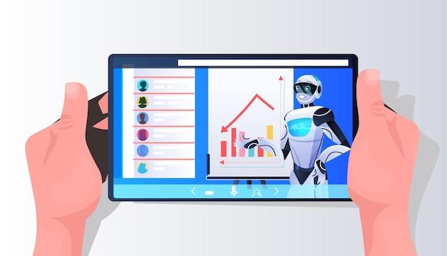 Robot analyseren van financiële statistieken gegevens op smartphone scherm kunstmatige intelligentie technologie concept