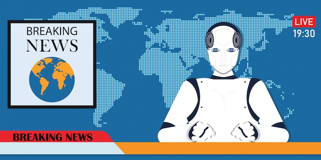 Robot android breaking hot news anchor of cyber nieuwslezer.
