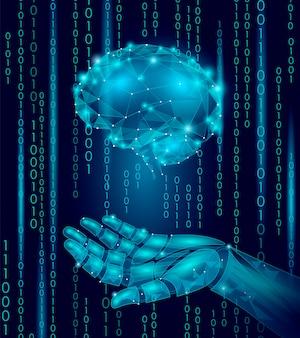 Robot android hand houdt menselijk brein, laag poly veelhoekige deeltjes punt lijn geometrisch