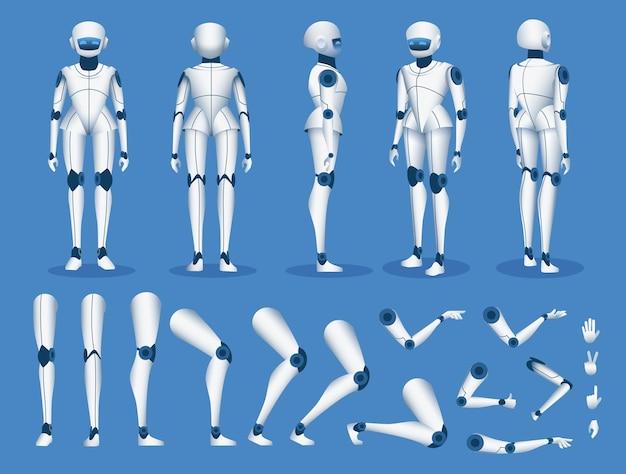 Robot androïde karakter. futuristische cyborg kunstmatige intelligentie mascotte poseert voor animatie. humanoïde robot constructor element vector set