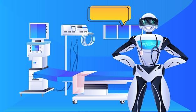 Robot arts met stethoscoop modern ziekenhuis kliniek afdeling interieur geneeskunde gezondheidszorg kunstmatige intelligentie concept horizontaal