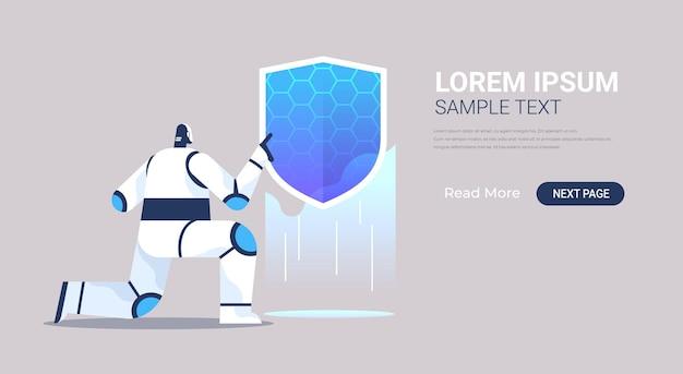 Robot bedrijf schild. banner voor webgegevensbeveiliging