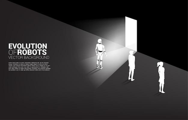 Robot bij uitgangsdeur met mens met muur. bedrijfsconcept voor machine learning en kunstmatige intelligentie. mens versus robot.
