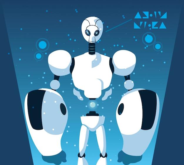 Robot cartoon over blauw