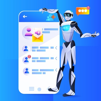 Robot chatbot-assistent met behulp van mobiele messenger-app tekstballon online communicatie