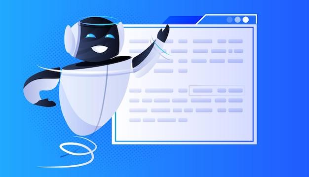 Robot chatbot-assistent met tekstballon online communicatie