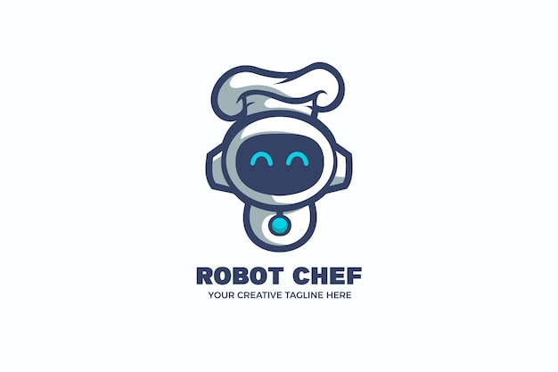 Robot chef koken eten cartoon mascotte logo sjabloon