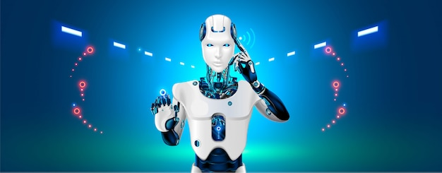 Robot cybernetisch organisme werkt met een virtuele hud-interface