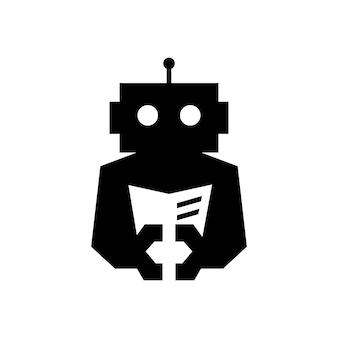 Robot cyborg boek lezen krant negatieve ruimte logo vector pictogram illustratie