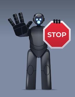 Robot cyborg met rood stopbord robotkarakter zonder toegang handgebaar kunstmatige intelligentie technologie