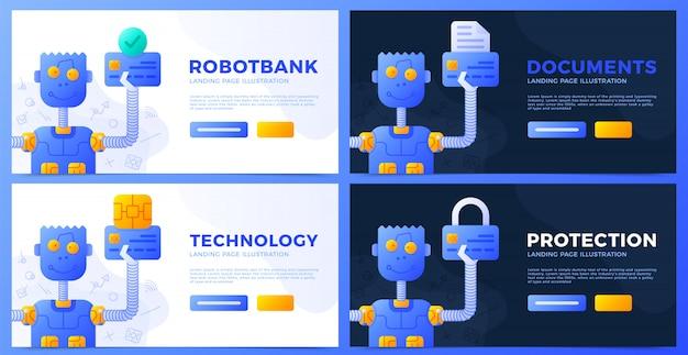 Robot die een creditcard in zijn hand houdt een inzameling van vectorillustraties.