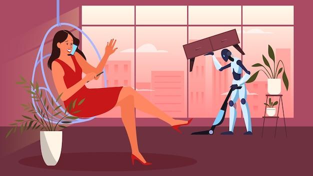 Robot die huishoudelijk werk doet. robotic huishouding. robot die het huis opruimt. futuristische technologie en automatisering.