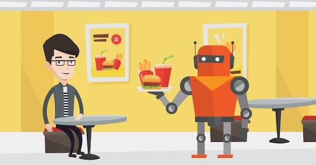 Robot die koffie voor een cliënt maakt bij koffiewinkel.