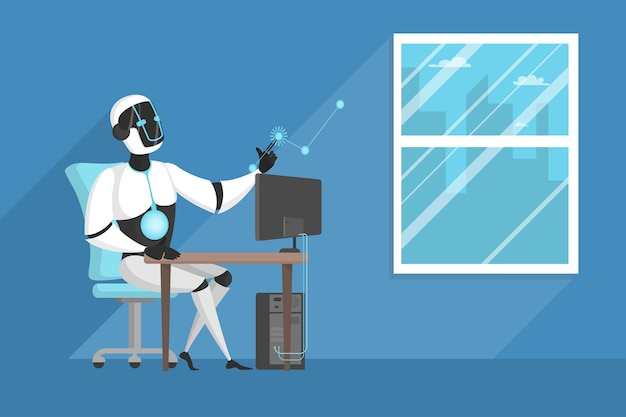 Robot die op kantoor werkt.