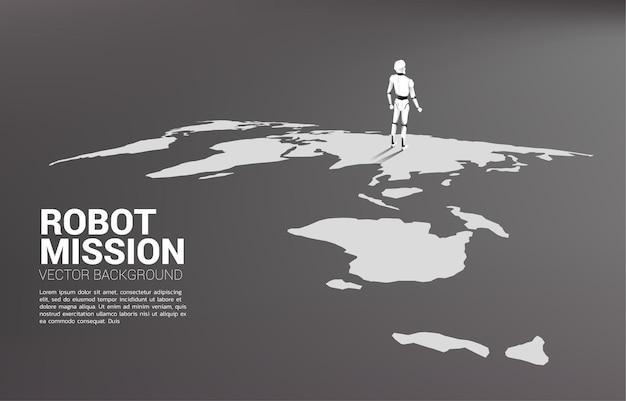 Robot die zich op de wereldkaart bevindt