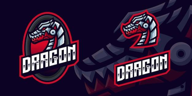 Robot dragon gaming mascot-logo voor esports streamer en community Premium Vector